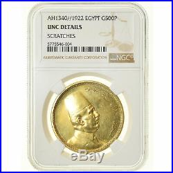 #19 Coin, Egypt, Fuad I, 500 Piastres, 1922, British Royal Mint, NGC, UNC