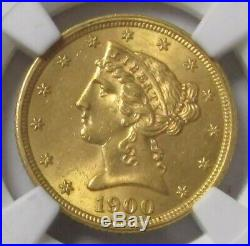 1900 Gold Us $5 Liberty Head Half Eagle Coin Ngc Mint State 62