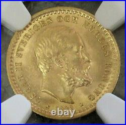 1901 Eb Gold Sweden 5 Kronor Coin Oscar II Ngc Mint State 64