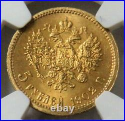 1902 Ap Gold Russia 5 Roubles Nicholas II Coin Ngc Mint State 66+