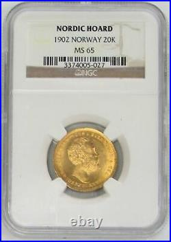 1902 Gold Norway 20 Kroner Coin Nordic Hoard Ngc Mint State 65 Oscar II