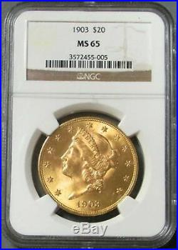 1903 Gold United States $20 Liberty Head Double Eagle Coin Ngc Mint State 65