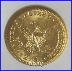 1905 Gold Us $2 1/2 Liberty Head Quarter Eagle Coin Ngc Mint State 63
