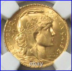 1909 Gold France 20 Francs Rooster Coin Ngc Mint State 65