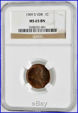 1909 S VDB US Mint 1 One Cent Wheat Penny Coin NGC MS 65 BN Certified