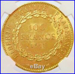 1911 A Gold France 100 Francs Standing Genius Coin Ngc Mint State 61