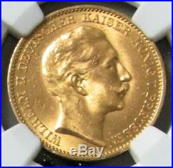 1911 A Gold Prussia Germany 20 Mark Coin Ngc Mint State 63
