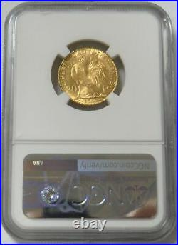 1911 Gold France 20 Francs Rooster Coin Ngc Mint State 65
