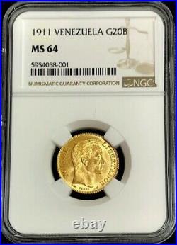 1911 Gold Venezuela 20 Bolivares Simon Bolivar Coin Ngc Mint State 64