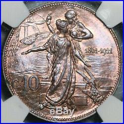 1911 NGC MS 64 Italy 10 Centesimi Kingdom Anniversary Mint State Coin 20081801C