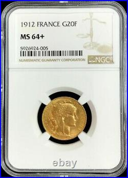 1912 Gold France 20 Francs Rooster Coin Ngc Mint State 64+