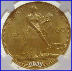 1912 R Gold Italy 100 Lire Ngc Mint State 61 Vittorio Emanuele III