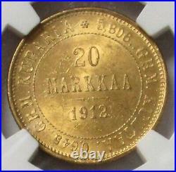 1912 S Gold Finland 20 Markkaa Ngc Mint State 64