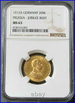 1913 A Gold German State Prussia Military Jubliee Bust 20 Mark Mint State 63