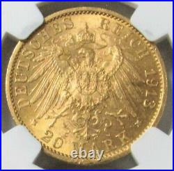 1913 A Gold German States Prussia 20 Mark Jubliee Bust Germany Mint State 63