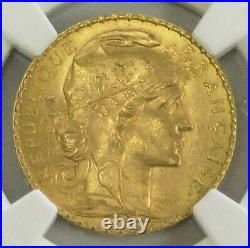 1913 Gold France 20 Francs Rooster Coin Paris Mint Ngc Mint State 66