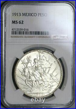 1913 NGC MS 62 Mexico Peso Mint State Caballito Horse Silver Coin (20111503C)