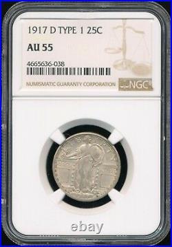 1917-D Type 1 Standing Liberty Quarter NGC AU 55 Plenty Of Original Mint Luster
