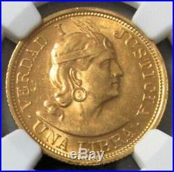 1917 Gold Peru Un Libra Pound Coin Ngc Mint State 62