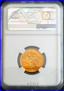 1918-I, India (British), George V. Gold Sovereign Coin. Bombay mint! NGC MS-63