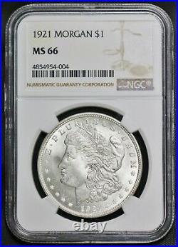 1921 P Silver Morgan Dollar $1 NGC MS 66 Philadelphia Mint