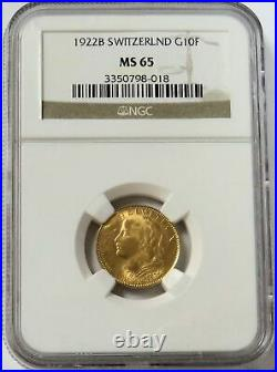 1922 B Gold Switzerland 10 Francs Helvetia Coin Ngc Mint State 65