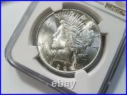 1922 Silver Peace Dollar NGC MS 63 Cracked Defective Planchet Crack Mint Error