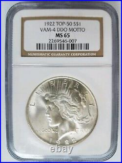 1922 Silver Peace Dollar NGC MS 65 Vam 4 DDO Double Motto Top 50 Mint Error