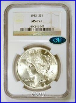1923 P Silver Peace Dollar Coin Philadelphia Mint Graded MS65+ by NGC with CAC