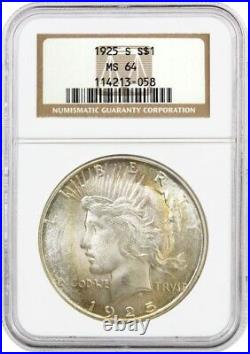 1925 S $1 Silver Peace Dollar NGC MS64 Uncirculated Mint State Coin