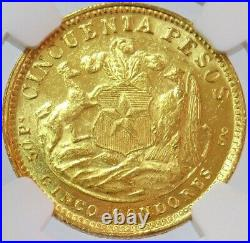 1926 So Gold Chile 50 Pesos 10.16 Grams Condor Coin Ngc Mint State 61