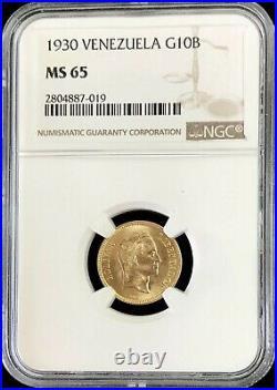 1930 Gold Venezuela 10 Bolivares Simon Bolivar Coin Ngc Mint State 65