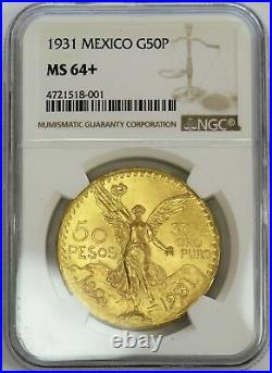 1931 Gold Mexico 50 Pesos Ngc Mint State 64+