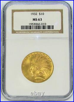 1932 Gold United States $10 Indian Head Eagle Coin Ngc Mint State 63