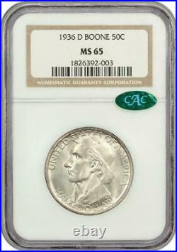 1936-D Boone Commemorative Silver Half Dollar NGC MS 65 Mint State 65 CAC