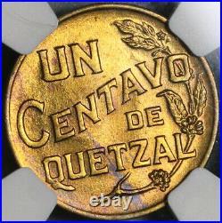 1944 NGC MS 65 Guatemala 1 Centavo Quetzal Bird Maya Mint State Coin (21042105D)