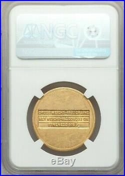 1945-46 Saudi Arabia Gold 4 Pounds NGC MS61 by US Philadelphia Mint ARAMCO