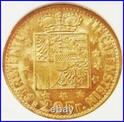 1946 B Gold Liechtenstein 20 Franken Coin Ngc Mint State 65