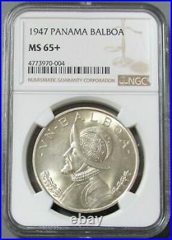 1947 Silver Panama 1 Balboa Lady Liberty Coin Ngc Mint State 65+