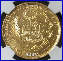 1951 Gold Peru 50 Soles Only 5,292 Minted Ngc Mint State 63