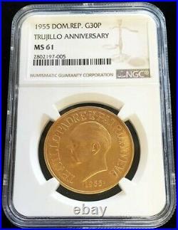 1955 Gold Dominican Republic 30 Peso Trujillo Anniversary Coin Ngc Mint State 61
