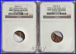 1962 D NGC AU58 Two-Coin Set Split in Half After Strike Lincoln Cent Mint Error