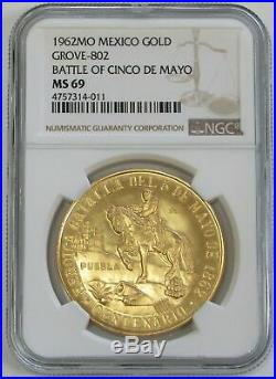1962 Gold Mexico 50 Pesos Finest Known Pop 1 Ngc Mint State 69 Cinco De Mayo