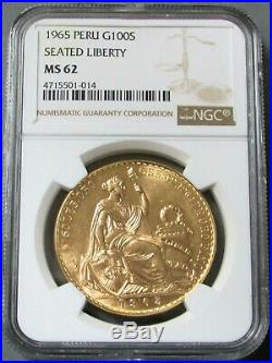 1965 Gold Peru 100 Soles Coin Ngc Mint State 62