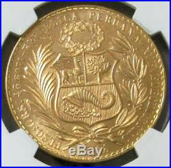 1965 Gold Peru 100 Soles Seated Liberty Coin Ngc Mint State 65