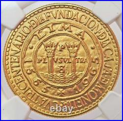 1965 Gold Peru 50 Soles Lima Mint Anniversary Coin Ngc Mint State 67
