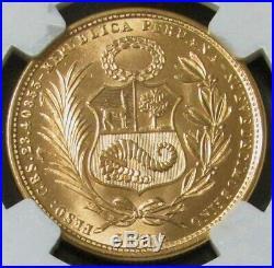 1965 Gold Peru 50 Soles Lima Mint Ngc Mint State 66