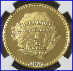 1966 GOLD SIERRA LEONE 600 MINTED 1/2 GOLDE NGC PROOF 67 CAMEO GREAT LION's HEAD