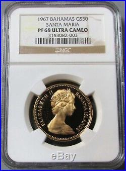 1967 Gold Bahamas $50 Ngc Proof 68 Ultra Cameo Santa Maria 1250 Minted