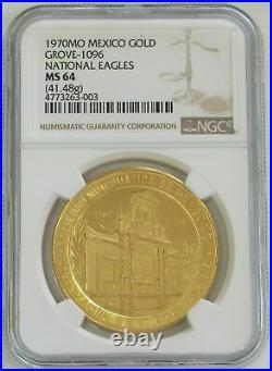 1970 Mo Gold Mexico 50 Pesos 300 Minted Grove 1096 National Eagles Ngc Ms 64